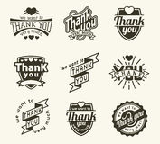 Thank you badge logo. Vintage label Thank You text vector badge. Thank you text design label card lettering type banner symbol. Letter typography thank you badge vector illustration