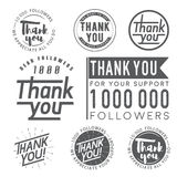 Thank you badges, labels and stickers for followers vector illustration