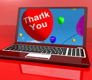 Thank You Balloon On Computer Stock Image