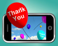 Thank You Balloons Message As Thanks Sent On Mobile Stock Photos