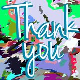 Thank you banner with floral fantasy Stock Photography