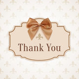 Thank you. Banner with golden ribbon and a bow Stock Images