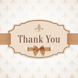 Thank you. Banner with golden ribbon and a bow Stock Photography