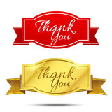 Thank you on banner sign message symbol vector isolated on white Stock Photo
