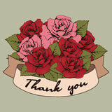 Thank you banner, Vintage Bouquet of roses flowers with a curved ribbon for your text. Greeting card, invitation, recognition, com. Munication, gratitude. March Stock Photography