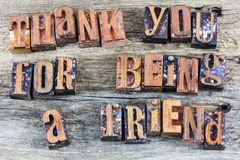 Thank you for being friend letterpress. Letterpress thank you thanks for being a friend helping message sign letterpress block letters type retro words barn wood Royalty Free Stock Photos