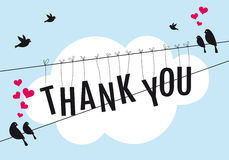 Thank you with birds in the sky, vector. Birds sitting on wire in blue sky with word thank you, vector background illustration Royalty Free Stock Photo