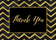 Thank You. Black and gold thank you card with chevron pattern Royalty Free Stock Images
