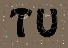 Thank You. Black Letters with Pearl Collars Royalty Free Stock Photography