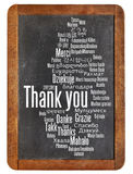 Thank you on blackboard. Thank you in different languages - word cloud on a  vintage slate blackboard Royalty Free Stock Image