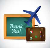 Thank you blackboard travel sign Stock Images