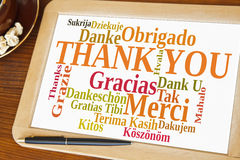 Thank you. Blackboard with thank you word cloud stock images