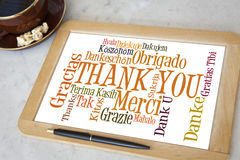 Thank you. Blackboard with thank you word cloud royalty free stock images