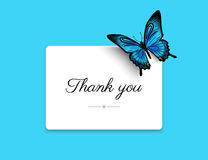 Thank you blank card. With beautiful blue butterfly. Text outlined stock illustration