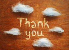 Thank you. And blue clouds on wood board Royalty Free Stock Images