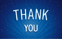 Thank you - blue dreamlike lettering Royalty Free Stock Image