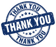 Thank you blue grunge round rubber stamp Stock Photo