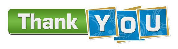 Thank You Blue Technology Squares Green Bar Royalty Free Stock Photo