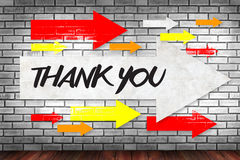 THANK YOU. On brick wall and poster concept stock image