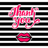 Thank You bright card in retro 80s, 90s pop art style, with pink lips kiss Royalty Free Stock Image