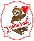 Thank you with brown teddy bear royalty free stock images