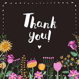 Thank You! brush handwritten lettering background and card with flowers. Stock Photography