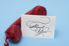 Thank you Call. Telephone with thank you card with copy space stock image
