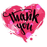 Thank you calligraphy Valentine's day card Stock Photos