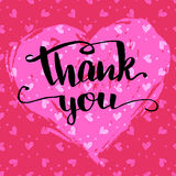 Thank you calligraphy Valentine's day card Stock Photography