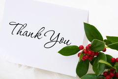 Thank You Card. A thank you card with holly and berries on a white fur background, thank you card Stock Images