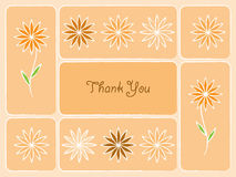 Thank You Card. Greeting card illustration in orange with flowers Royalty Free Stock Images