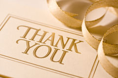Thank you card. Close up of thank you card. Shot with shallow depth of field stock photos