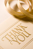 Thank you card. Close up of thank you card. Shot with shallow depth of field Royalty Free Stock Photo