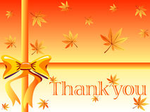 Thank you card. Autumn gift box design with maple leaves ,orange bow and thank you note - VECTOR Royalty Free Stock Photo