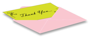Thank you card. With pink envelop stock illustration