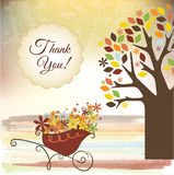 Thank you card. With romantic flowers maid Royalty Free Stock Photos