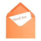 Thank You Card. An isolated thank you card that has been opened by its receiver Stock Images