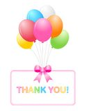 Thank you card. Thank you, cute thank you card with colorful balloons Royalty Free Stock Image