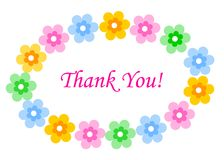 Thank you card. Thank you, cute colorful floral thank you card royalty free illustration