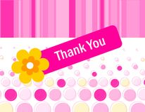 Thank you card. Thank you, cute pink floral thank you card vector illustration