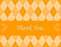 Thank you card. With beautiful orange Argyle pattern background Stock Photo