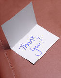 Thank you card. A handwritten thank you card to show gratitude and appreciate Royalty Free Stock Photo