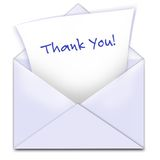 Thank you card. A pale lavendar envelope is open with a piece of paper having  Thank you  coming out to show appreciation for receipt of a gift or favor.  Ready Stock Photo