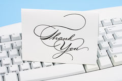 Thank You Card. On a white keyboard Royalty Free Stock Photo