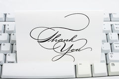 Thank You Card. On a white keyboard Royalty Free Stock Image