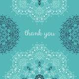 Thank you card with abstract vector ornamental round mandala Royalty Free Stock Photos