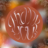 Thank you card with, autumn foliage and blurred. Background. Based on hand drawn elements Stock Images