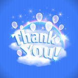 Thank You card with balloons, clouds and rainbow. Vector illustration, eps10. Royalty Free Stock Photos