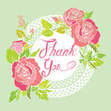Thank you card with beautiful flovers, pink roses and lace white Royalty Free Stock Image
