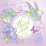 Thank you card with beautiful flowers, bird, butterfly. Stylish Stock Photos